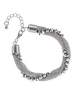 Mood silver bead mesh twist bracelet
