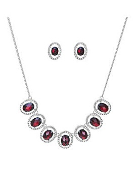 Mood red oval crystal jewellery set