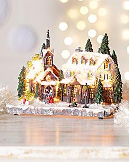 Light-Up Christmas Village Scene