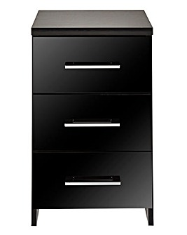 Riga Gloss 3 Drawer Bedside Table