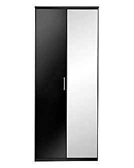 Riga Gloss 2 Door Wardrobe with Mirror