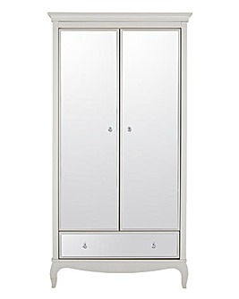 Elise Mirrored 2 Door 1 Drawer Wardrobe