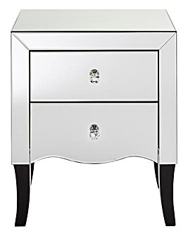 Avignon Curved mirrored 2 Drawer Bedside