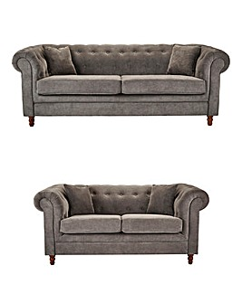 Chesterfield Fabric 3 and 2 Seater Sofa