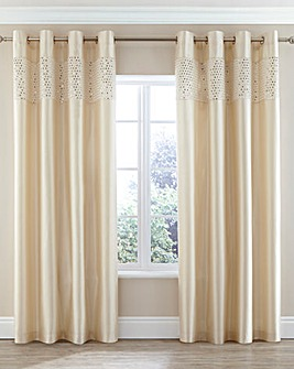 Glitz Sequin Border Lined Eyelet Curtain