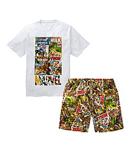 Marvel Comic Book Shorts PJ Set