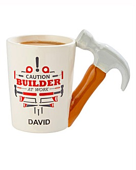 Personalised Builder at Work Mug