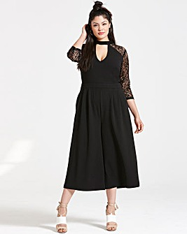 Girls On Film Black Lace Sleeve Jumpsuit