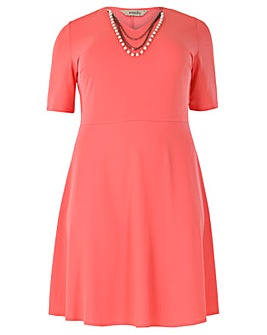 emily V Neckline Skater Dress.