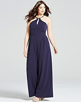 Girls On Film Navy and Gold Jumpsuit