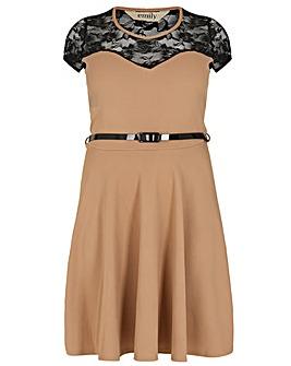 emily Belted Skater Dress