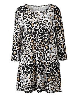 AX Paris Grey Leopard Print Swing Dress