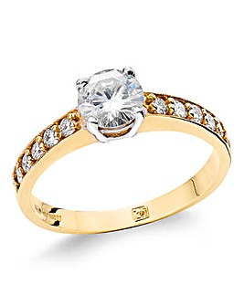 9ct Gold 1ct Moissanite Ring