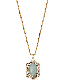 Yellow Rhodium Plated Jade & CZ Pendant