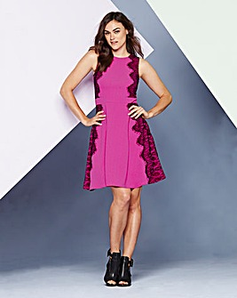 Simply Be Pink Lace Skater Dress