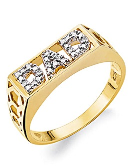 Gold Plated Silver & CZ Dad Ring