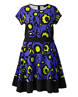 AX Paris Blue Lime Print Skater Dress