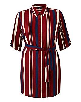 Ax Paris Longline Stripe Shirt