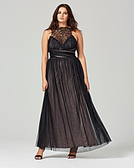 Little Mistress Mesh Detail Maxi Dress