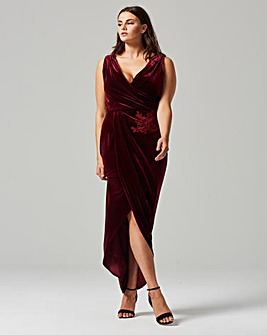 Little Mistress Velvet Detail Wrap Dress