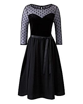 Scarlett & Jo Spot Mesh Velvet Dress