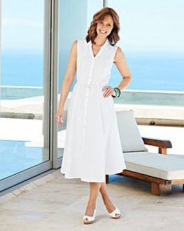 Linen Mix Dress with Belt