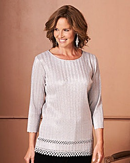 Metallic Plisse Tunic with Lazer Cut Hem