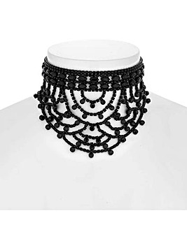 Mood Jet Diamante Loop Choker Necklace