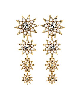 Mood Pearl And Crystal Star Drop Earring