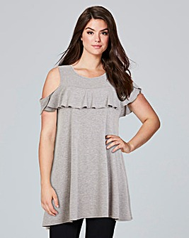 AX Paris Ruffle Cold Shoulder Tunic