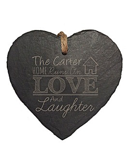 Personalised Love and Laughter Slate Hea