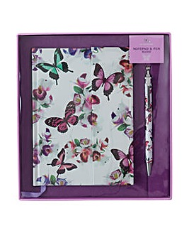Butterfly Notepad and Pen Gift Set