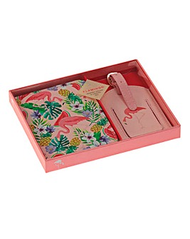 Flamingo Passport Cover and Luggage Set