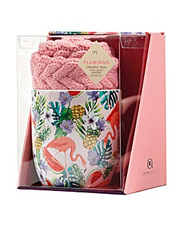 Flamingo Mug and Socks Gift Set