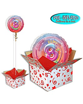 Happy 8th Birthday Foil Balloon In A Box