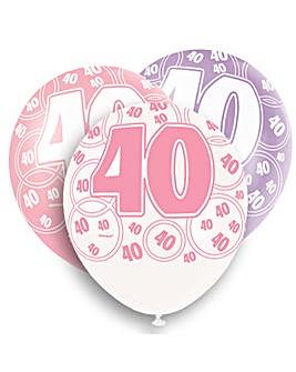 "Glitz 12"" Birthday Balloons Age 40 x 6"