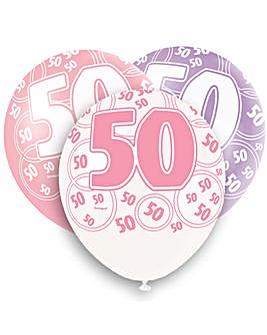 "Glitz 12"" Birthday Balloons Age 50 x 6"