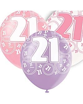 "Glitz 12"" Birthday Balloons Age 21 x 6"