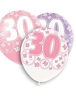 "Glitz 12"" Birthday Balloons Age 30 x 6"
