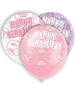 "Glitz 12"" Birthday Balloons x 6"