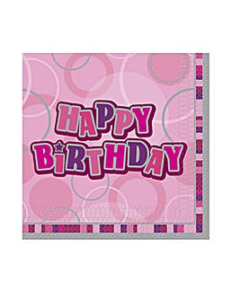 Glitz Birthday Lunch Napkins x 16