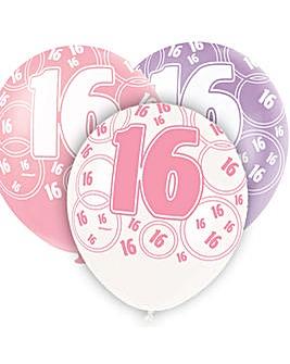 "Glitz 12"" Birthday Balloons Age 16 x 6"