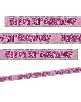 Glitz Birthday Prism Foil Banner Age 21