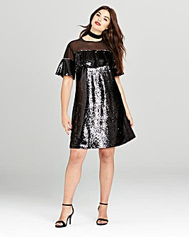 Simply Be Black Ruffle Sequin Dress