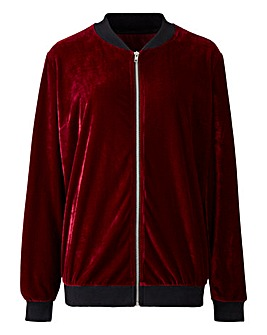 Simply Be Berry Velour Bomber Jacket
