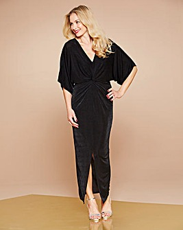 Simply Be Black Kimono Knot Front Dress