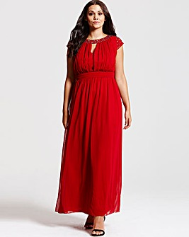 Little Mistress Red Chiffon Maxi Dress