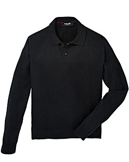 Black Label Textured Stitch Knit Polo