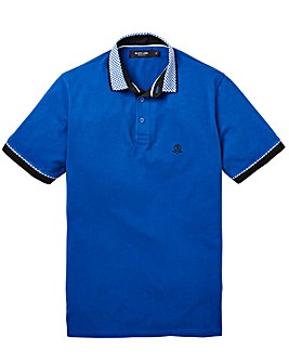 Black Label Gingham Trim Polo L