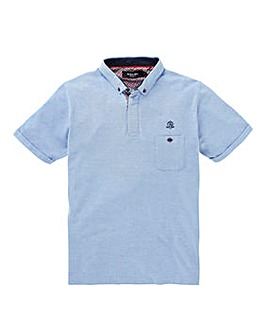 Black Label Marl Pique Trim Polo Reg